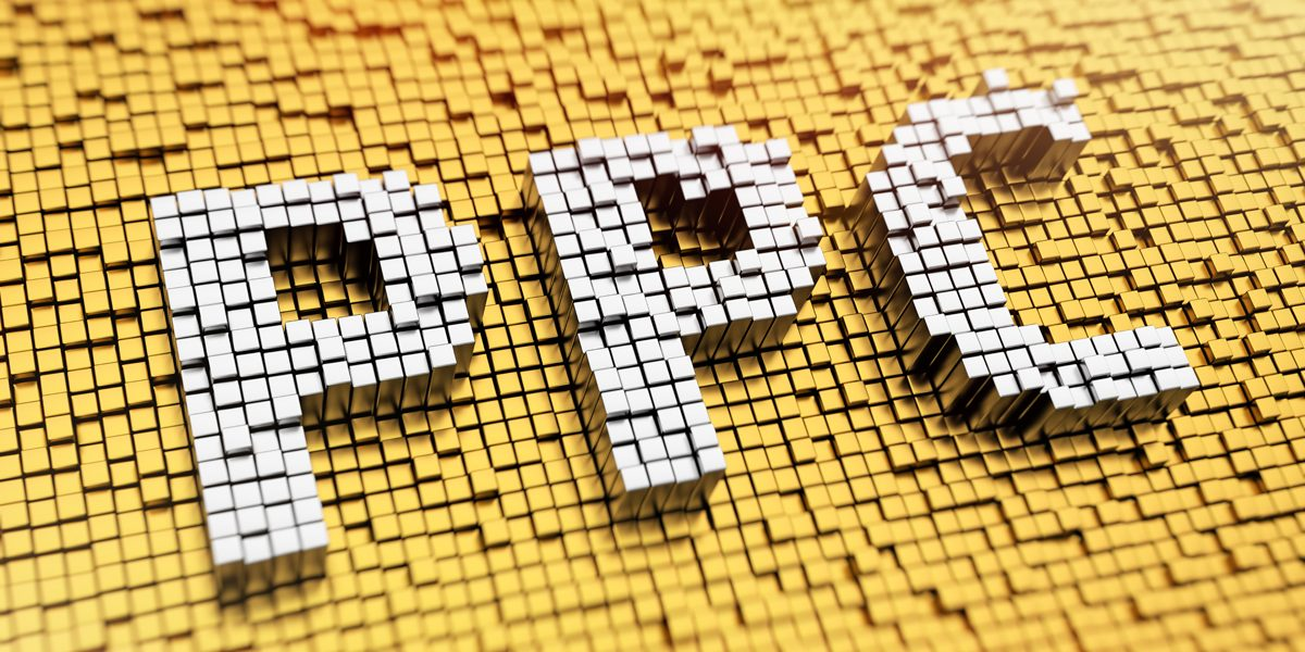 Pixelated acronym PPC made from cubes, mosaic pattern